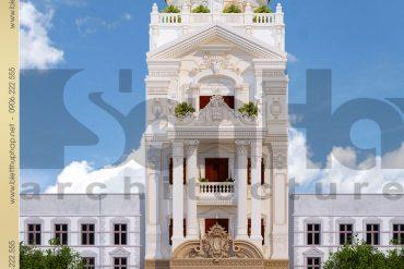 1 Thiết kế kiến trúc biệt thự lâu đài đẹp thái bình sh btld 0015