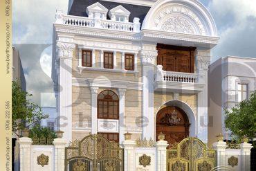 1.Thiết kế kiến trúc biệt thự pháp tai sài gòn SH BTP 0019