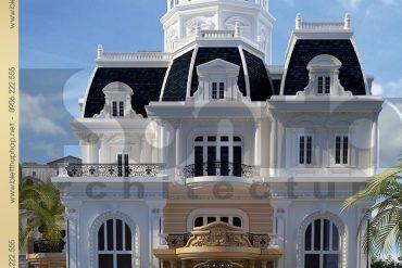 1 Thiết kế kiến trúc mặt tiền biệt thự lâu đài tại nha trang