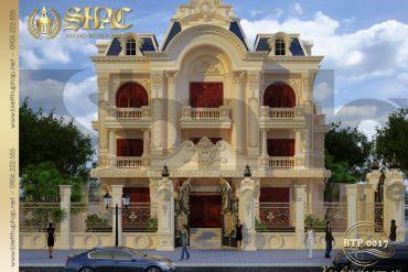 1 Thiết kế kiến trúc mặt tiền biệt thự pháp cổ tại quảng ninh sh btp 0017