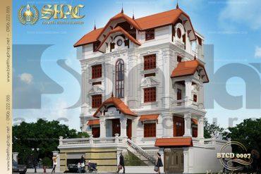 1 Thiết kế kiến trúc mặt tiền biệt thự tân cổ điển tại quảng ninh sh btcd 0007