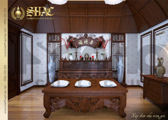 Mẫu thiết kế nội thất phòng thờ biệt thự lâu đài đẹp tại Hải Phòng thương hiệu SHAC