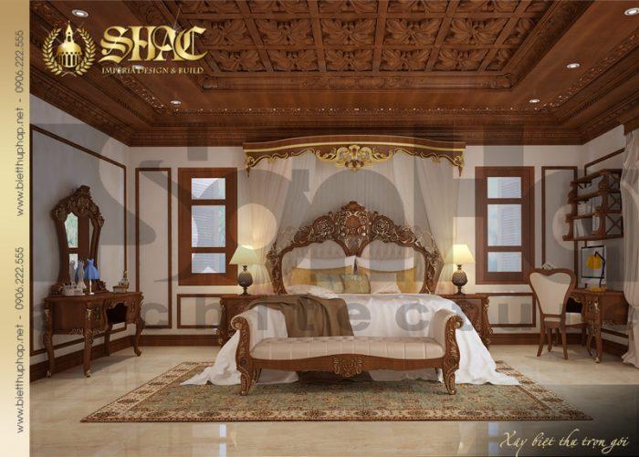 Phương án thiết kế nội thất phòng ngủ phong cách cổ điển của biệt thự lâu đài pháp