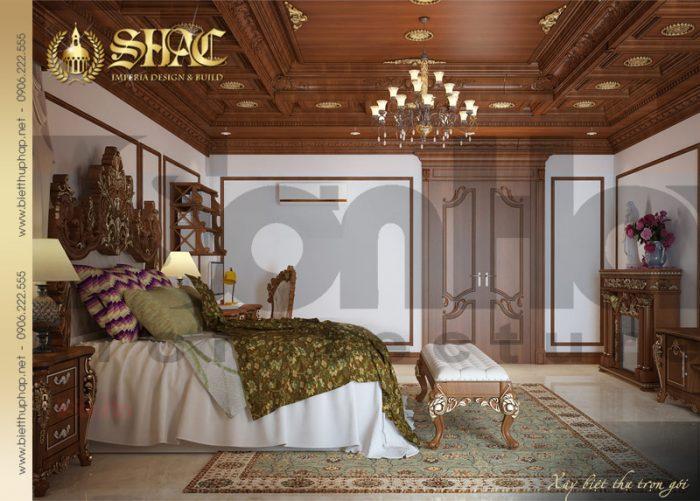 Thiết kế được đánh giá cao của mẫu nội thất phòng ngủ biệt thự lâu đài pháp 6 tầng