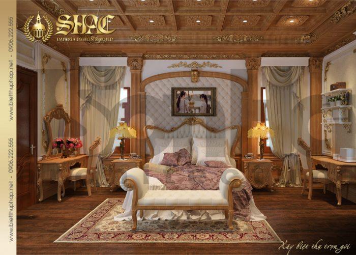 Ý tưởng độc đáo cho mẫu nội thất phòng ngủ biệt thự lâu đài pháp cổ điển tại Thái Bình