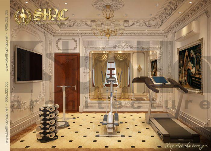 Thiết kế sang trọng mà gần gũi của mẫu nội thất phòng tập biệt thự lâu đài pháp
