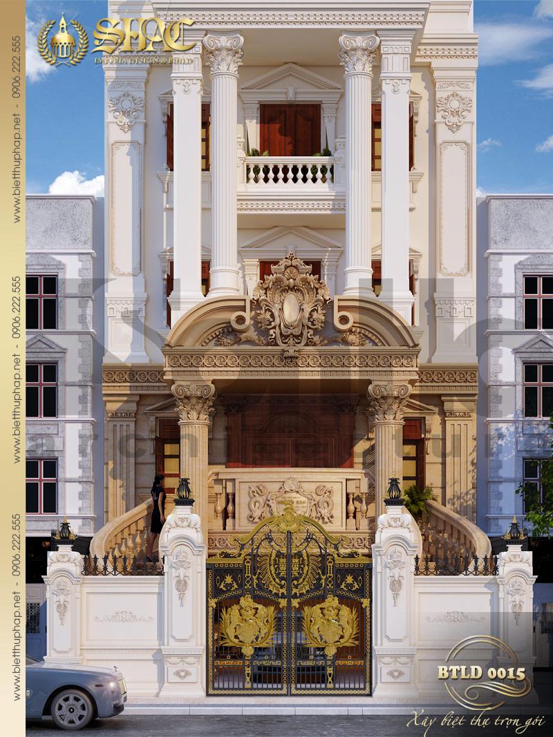 Cận cảnh các đường nét có duyên làm nên kiến trúc biệt thự lâu đài cổ điển tại Thái Bình