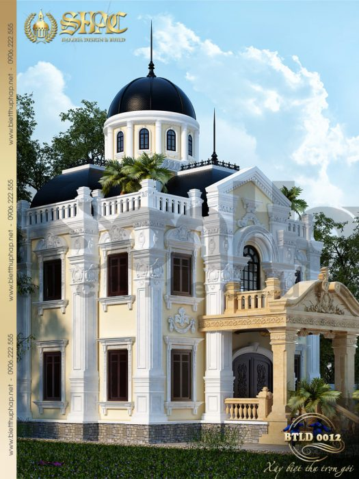 2 Mẫu thiết kế kiến trúc biệt thự lâu đài tại bắc ninh sh btld 0012
