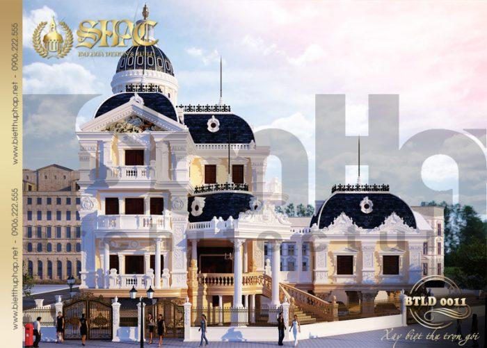 3 Thiết kế kiến trúc mặt tiền biệt thự lâu đài tại hải dương sh btld 0011