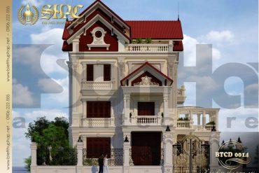 3 Thiết kế kiến trúc mặt tiền biệt thự tân cổ điển tại lạng sơn sh btcd 0014