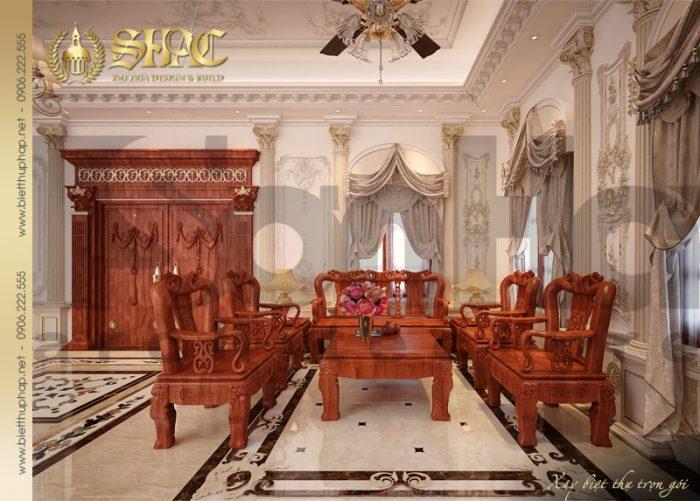 Thiết kế nội thất phòng khách biệt thự lâu đài tại Hải Phòng với màu sắc bắt mắt