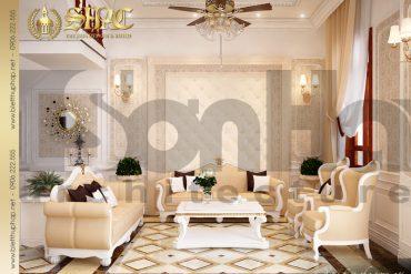 3.Thiết kế nội thất phòng khách biệt thự pháp cổ điển tại quảng ninh SH BTP 0020