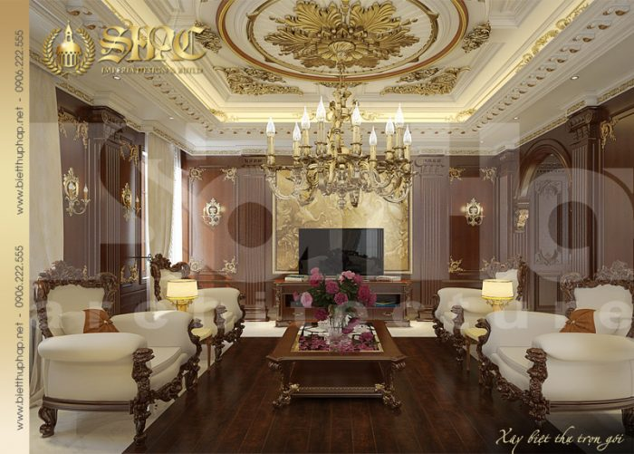 Mẫu thiết kế nội thất phòng khách biệt thự pháp cổ điển 2 tầng tại Sài Gòn