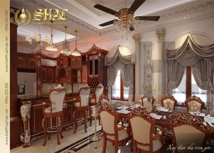 Mẫu thiết kế nội thất phòng bép ăn biệt thự phong cách lâu đài cổ điển đẹp