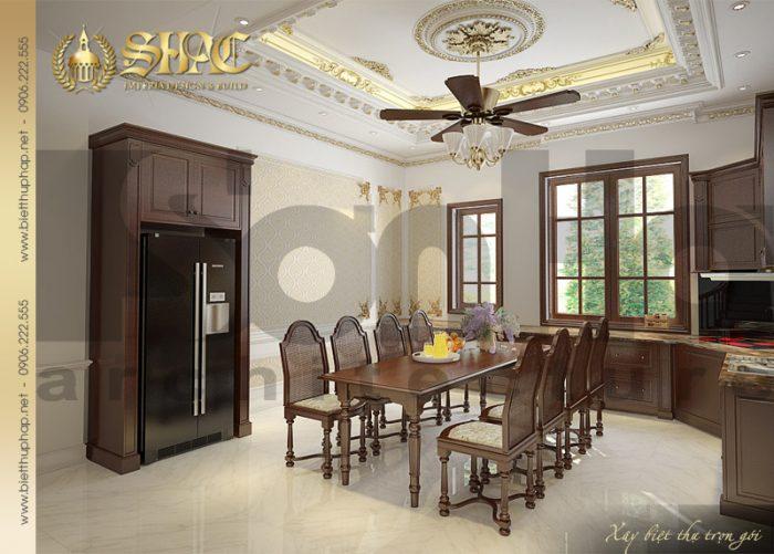Mẫu phòng khách phong cách cổ điển của biệt thự pháp diện tích 10mx20m