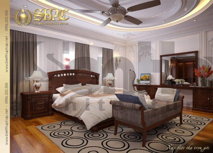 Mẫu thiết kế nội thất phòng ngủ nhẹ nhàng và thanh nhã của biệt thự pháp 2 tầng