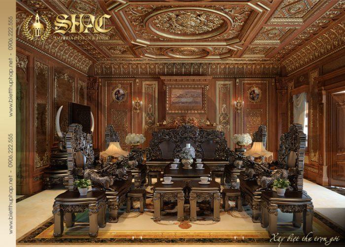 Mẫu nội thất phòng khách cổ điển biệt thự lâu đài pháp tại Thái Bình