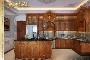 7 Thiết kế nội thất phòng bếp đẹp biệt thự lâu đài tại thái bình sh btld 0015