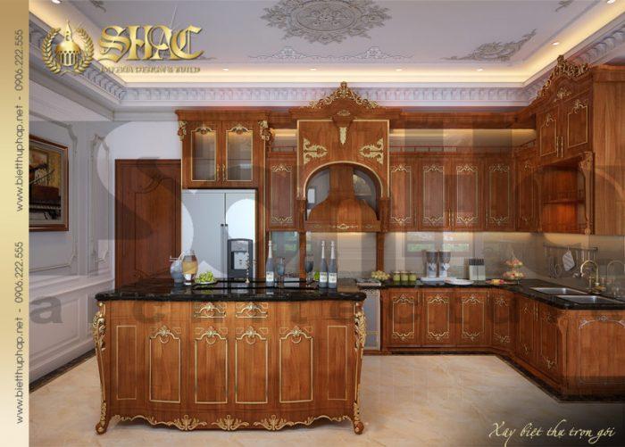 Phương án thiết kế nội thất phòng bếp ăn đẹp của lâu đài pháp tại Thái Bình