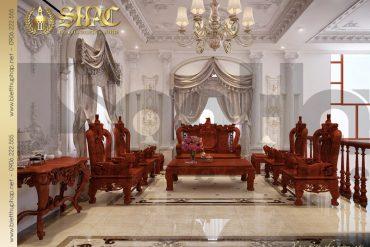 7.Thiết kế nội thất phòng khách tầng 2 biệt thự pháp cổ điển tại quảng ninh SH BTP 0020