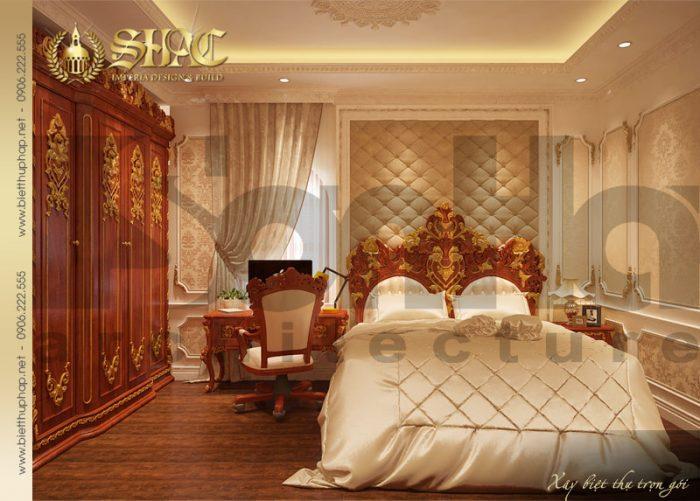 Thiết kế nội thất phòng ngủ biệt thự 3 tầng tại Hải Phòng chinh phục mọi ánh nhìn