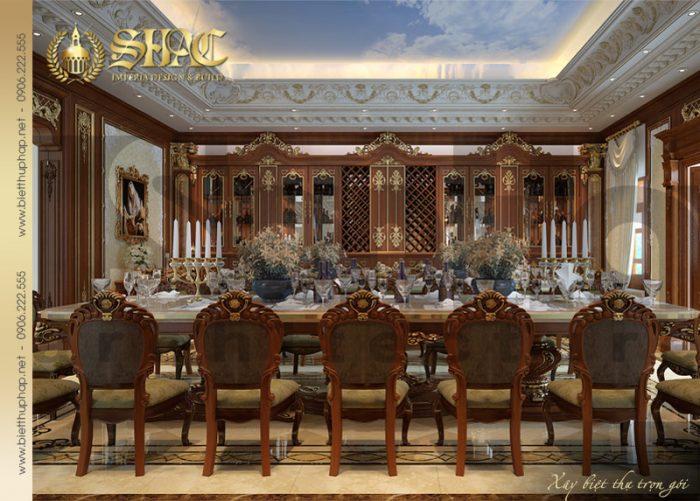 Mẫu thiết kế nội thất phòng bếp ăn biệt thự lâu đài pháp cổ điển được yêu thích