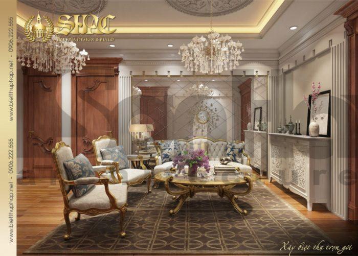 Phương án thiết kế nội thất phòng sinh hoạt chung biệt thự cổ điển kiểu lâu đài