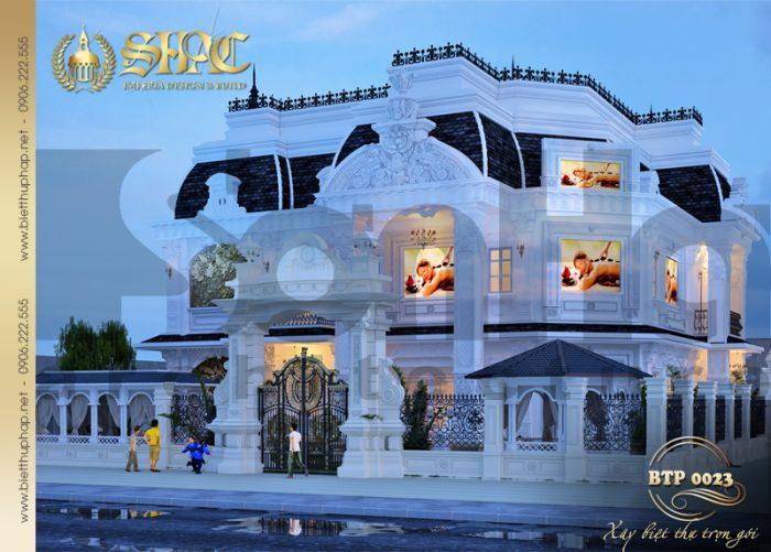 Mẫu thiết kế biệt thự cổ điển kiểu pháp 3 tầng kết hợp spa cao cấp tại Đà Nẵng