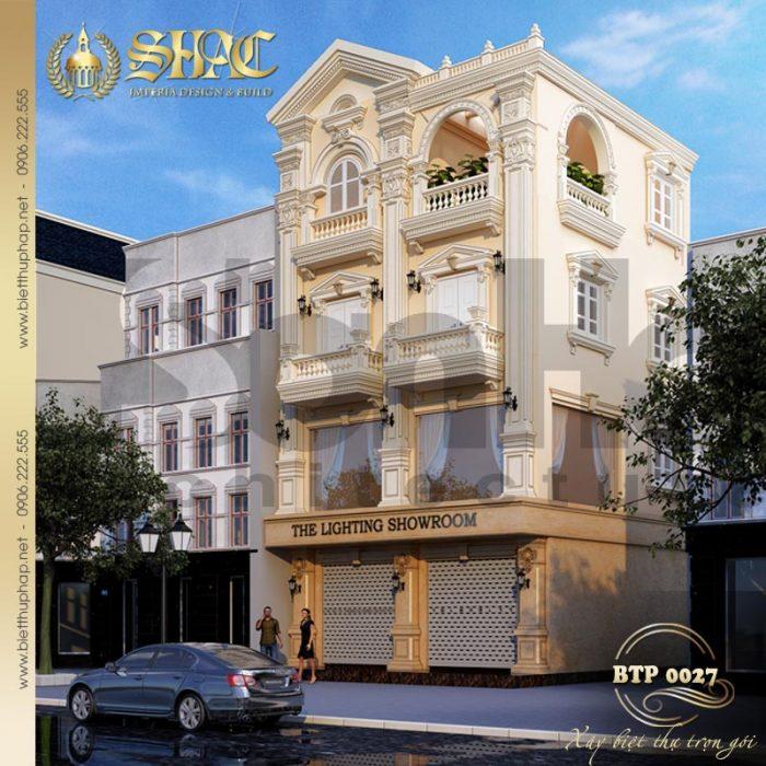 Mẫu thiết kế biệt thự phong cách pháp 4 tầng kết hợp kinh doanh tại Sài Gòn