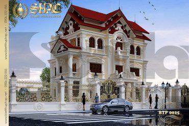 1 Thiết kế kiến trúc biệt thự pháp cổ tại quảng ninh sh btp 0025