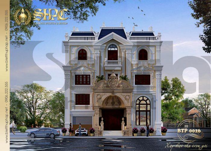 Mẫu thiết kế kiến trúc biệt thự cổ điển kiểu pháp 4 tầng tại Nghệ An diện tích 210m2