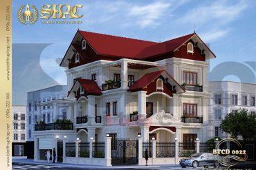 1 Thiết kế kiến trúc biệt thự tân cổ điển pháp tại ninh bình sh btcd 0022