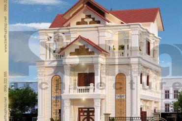 1 Thiết kế kiến trúc biệt thự tân cổ điển pháp tại thái bình sh btcd 0019