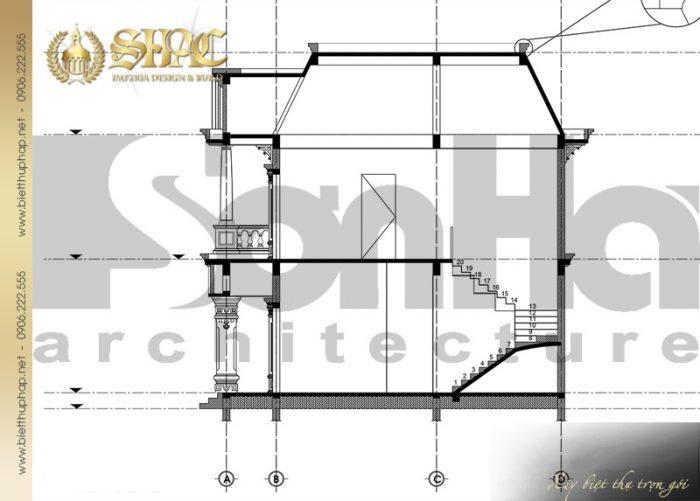 Bản vẽ mặt cắt biệt thự 3-3 của ngôi biệt thự 2 tầng phong cách tân cổ điển của SHAC
