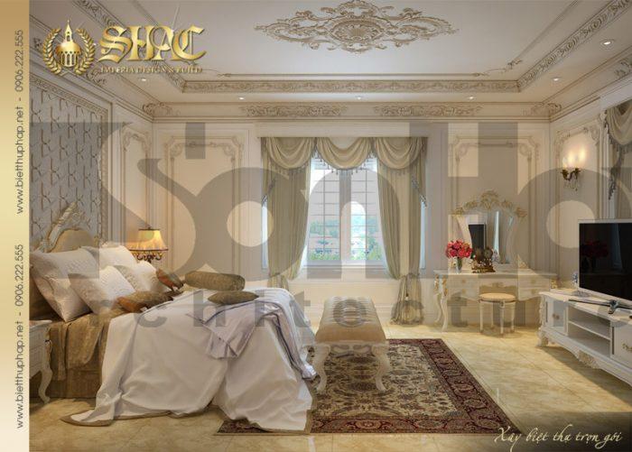 Mẫu thiết kế nội thất phòng ngủ biệt thự kiến trúc cổ điển 4 tầng tại Sài Gòn