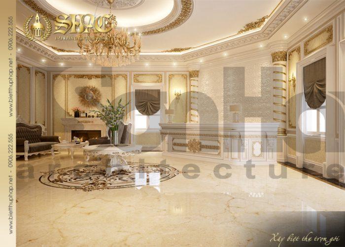 Thiết kế nội thất sảnh lễ tân spa ấn tượng của ngôi biệt thự cổ điển 4 tầng tại Quảng Ninh