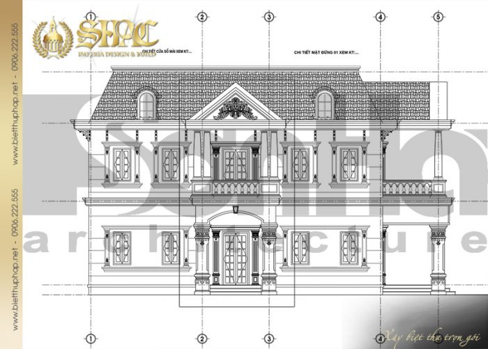Bản vẽ mặt đứng 1-5 biệt thự tân cổ điển diệ tích gần 150m2 tại Sài Gòn của SHAC