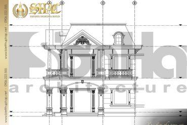 12 Mặt đứng trục A D biệt thự tân cổ điển pháp đẹp tại sài gòn sh btcd 0021