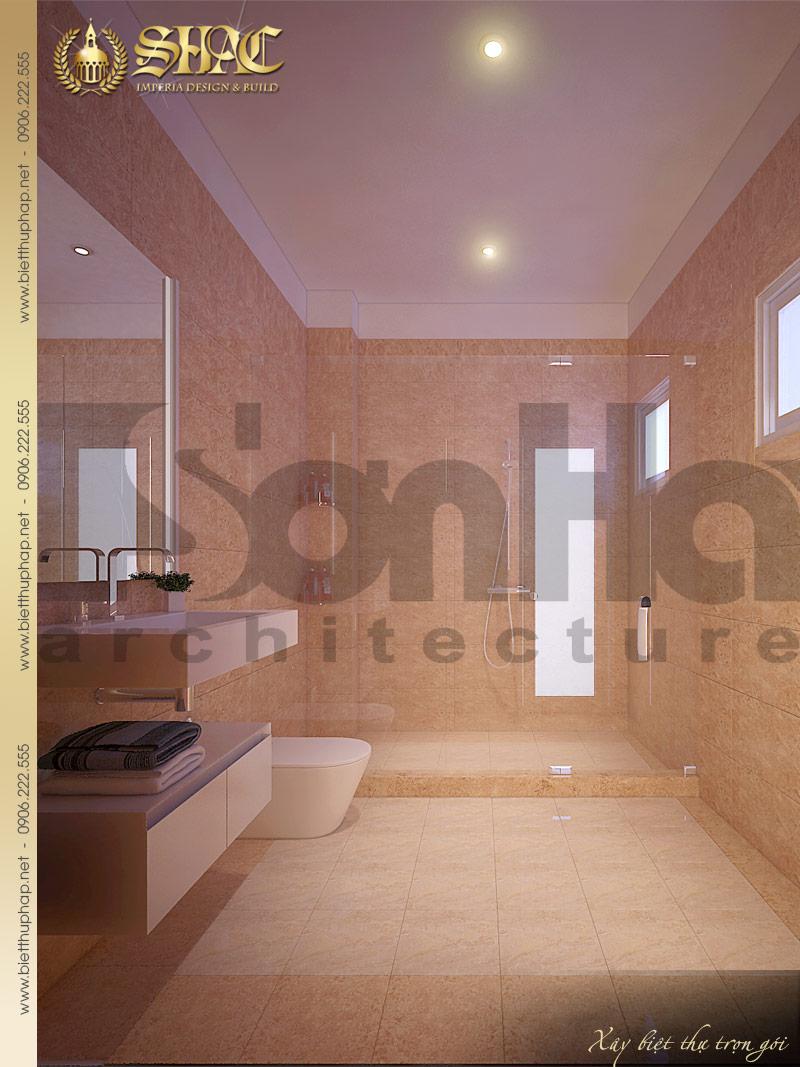 Mẫu thiết kế nội thất phòng tắm và vệ sinh biệt thự phong cách pháp đẹp