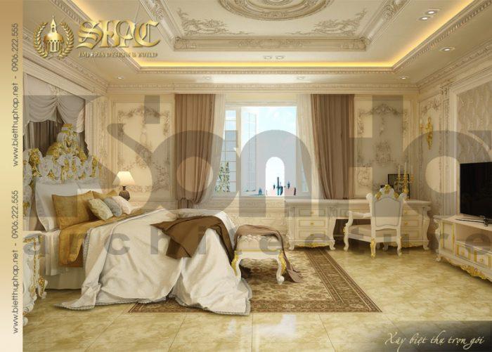 Mẫu thiết kế nội thất phòng ngủ phong cách cổ điển đẹp của biệt thự 4 tầng SHAC