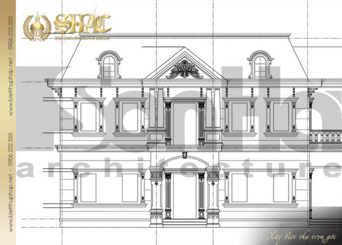 Còn đây là mặt đứng kỹ thuật 1-5 biệt thự tân cổ điển pháp 2 tầng đẹp tại Sài Gòn