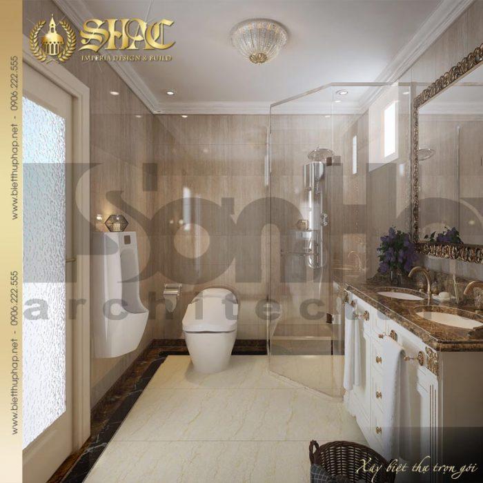 Phương án thiết kế nội thất phòng tắm và vệ sinh phong cách cổ điển cho biệt thự