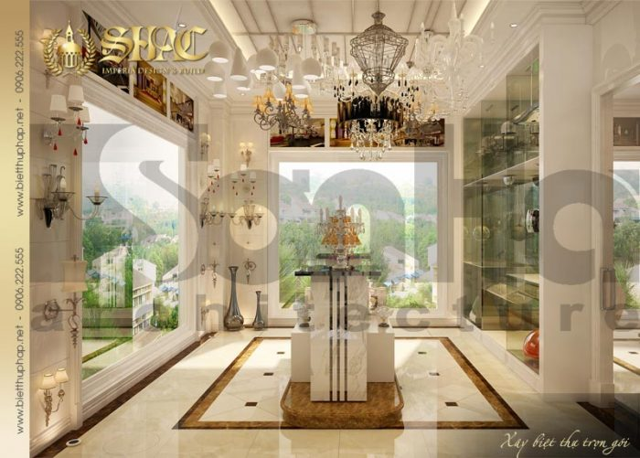Mẫu thiết kế nội thất showroom biệt thự phong cách pháp cổ điển tại Sài Gòn