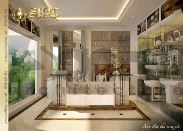 Thiết kế nội thất showroom biệt thự cổ điển pháp 4 tầng bố trí tại Sài Gòn