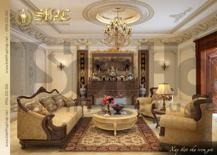 Mẫu thiết kế nội thất phòng thờ phong cách cổ điển biệt thự 4 tầng đẹp của SHAC