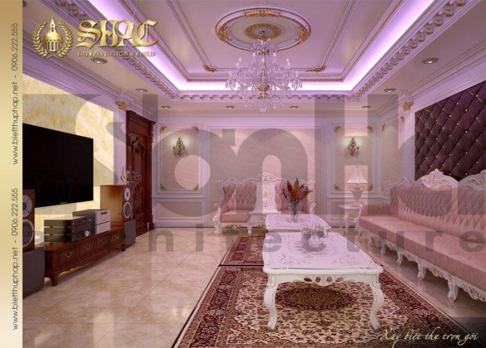 Còn đây là phương án thiết kế nội thất phòng hát phong cách cổ điển pháp đẹp