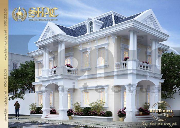 Kiến trúc mặt tiền đẹp của mẫu biệt thự tân cổ điển pháp chinh phục mọi ánh nhìn