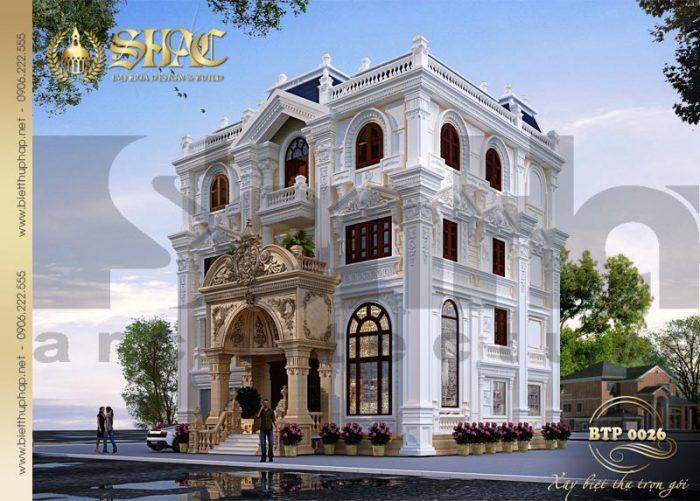 Kiến trúc biệt thự cổ điển pháp diện tích 15mx14m sang trọng từng tiểu tiết