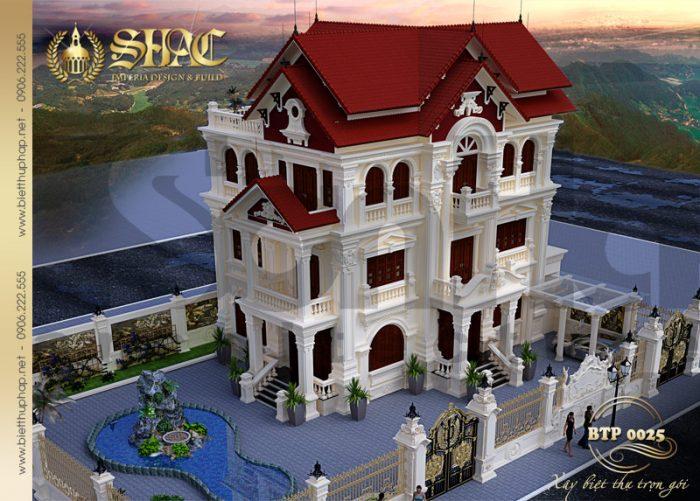 Mẫu thiết kế kiến trúc biệt thự kiểu pháp cổ tại Quảng Ninh chinh phục mọi ánh nhìn