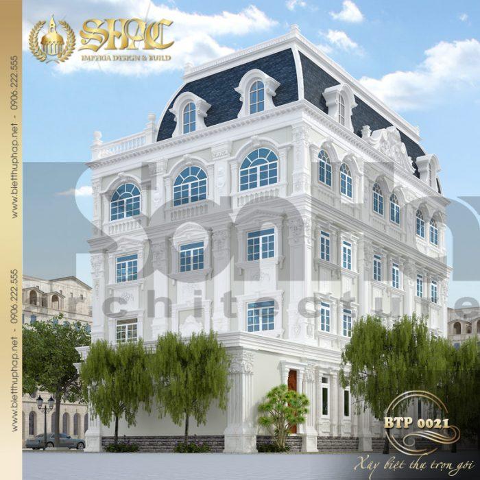 Phương án thiết kế kiến trúc biệt thự cổ điển xa hoa đẳng cấp 4 diện tích 18mx30m